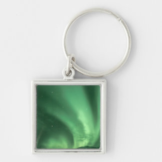 Northern lights, Aurora borealis, over foothills Silver-Colored Square Key Ring