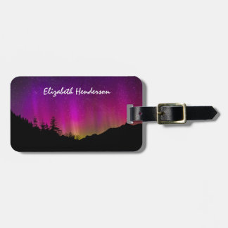 Northern Lights Aurora Borealis Starry Night Sky Luggage Tag