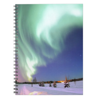 Northern Lights Chic Ribbon Of Lights Jade Glow Notebook
