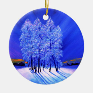 Northern Lights Christmas Snow Trees Ceramic Ornament