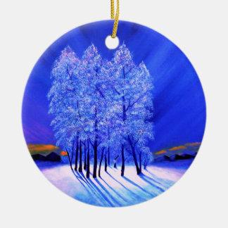 Northern Lights Christmas Snow Trees Round Ceramic Decoration