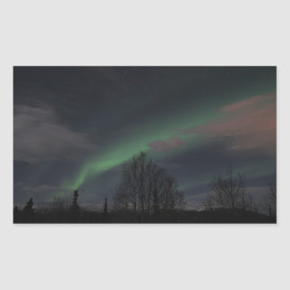 Northern Lights in Boreal Forest Rectangular Sticker