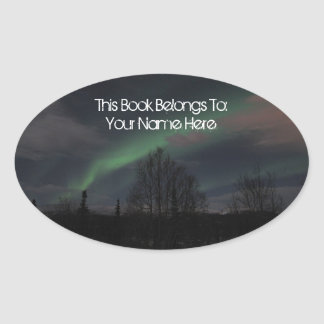 Northern Lights in Boreal Forest Oval Stickers