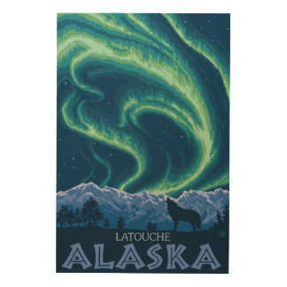 Northern Lights - Latouche, Alaska Wood Canvases