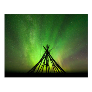 Northern lights lavvu postcard