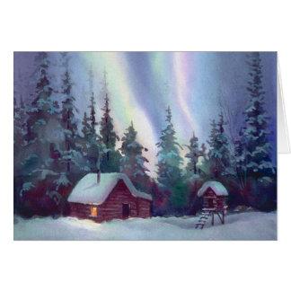 NORTHERN LIGHTS & LOG CABIN by SHARON SHARPE Greeting Cards