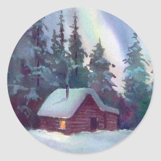 NORTHERN LIGHTS & LOG CABIN by SHARON SHARPE Round Sticker