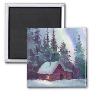 NORTHERN LIGHTS & LOG CABIN by SHARON SHARPE Square Magnet