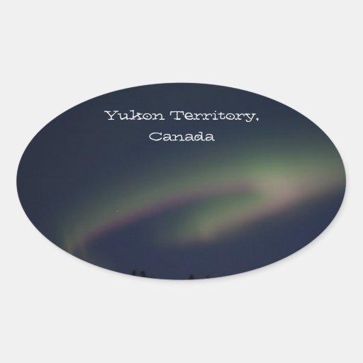 Northern Lights Loop; Yukon Territory Souvenir Oval Stickers