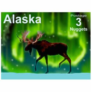 Northern Lights Moose - Alaska Postage Photo Sculpture Magnet