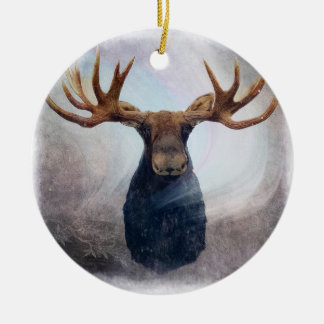 Northern Lights Moose Ceramic Ornament