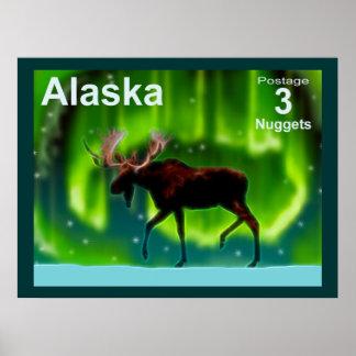 Northern Lights Moose Print