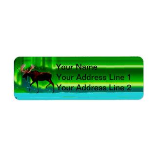 Northern Lights Moose Return Address Label
