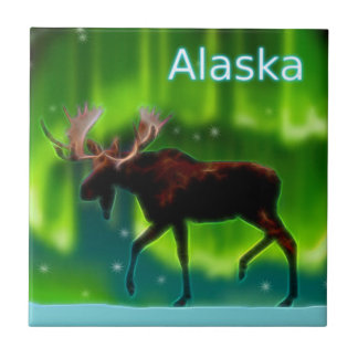 Northern Lights Moose Small Square Tile