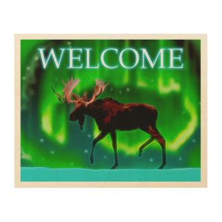 Northern Lights Moose - Welcome Wood Print