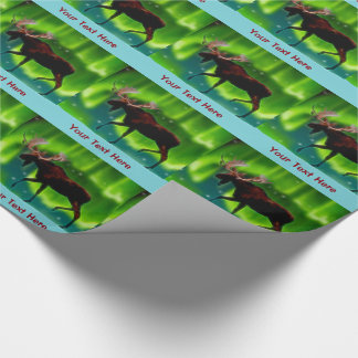 Northern Lights Moose Wrapping Paper