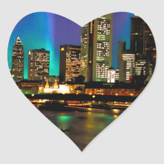 Northern Lights Over Frankfurt Heart Sticker