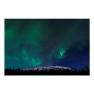 Northern Lights Over Mt Noulja Poster