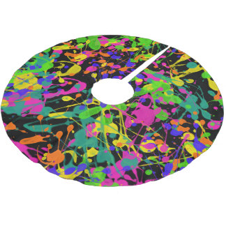 Northern Lights Paint Splatters Brushed Polyester Tree Skirt