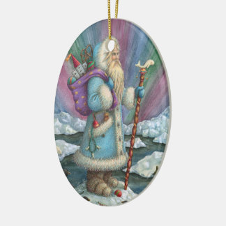 Northern Lights SANTA CHRISTMAS PORCELAIN ORNAMENT