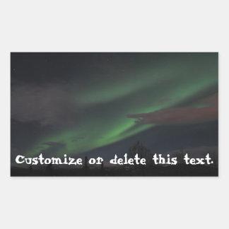 Northern Lights Show; Customizable Rectangular Sticker