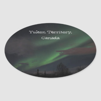 Northern Lights Show; Yukon Territory Souvenir Oval Sticker