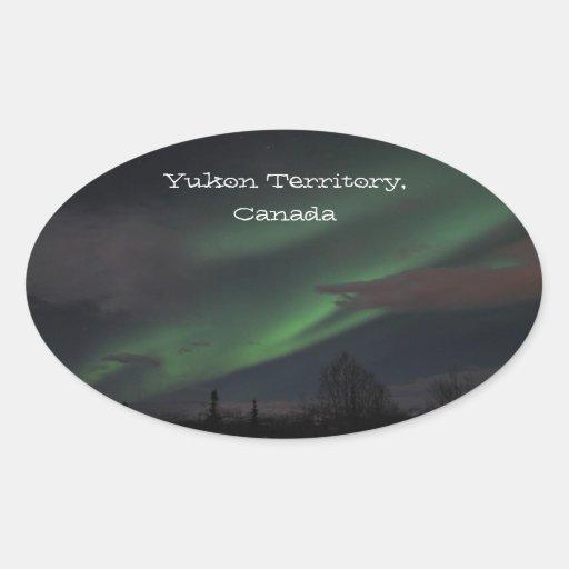 Northern Lights Show; Yukon Territory Souvenir Oval Stickers