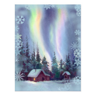 NORTHERN LIGHTS & SNOWFLAKES by SHARON SHARPE Postcard