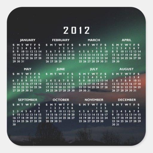Northern Lights Starry Sky; 2012 Calendar Square Sticker