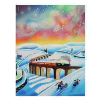 Northern lights train landscape painting postcard