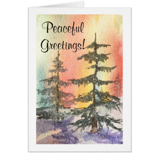 Northern Lights Trees Card