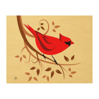 Northern Male Cardinal Wall Art Wood Canvases