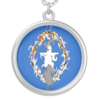 Northern Marianas Gnarly Flag Round Pendant Necklace