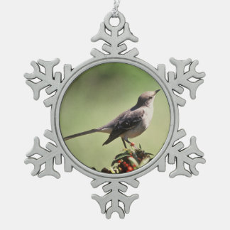 Northern mockingbird snowflake pewter christmas ornament