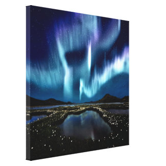 Northern Norway beautiful Borealis magic light Gallery Wrapped Canvas