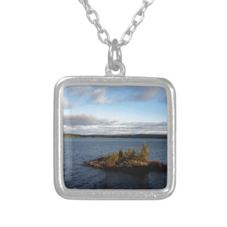 Northern Ontario Lake Silver Plated Necklace