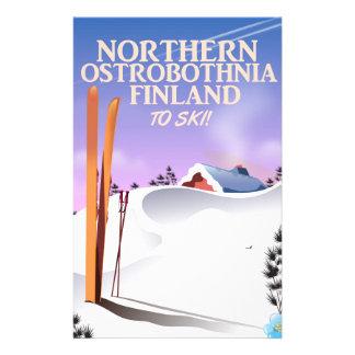 Northern Ostrobothnia Finland ski poster Stationery