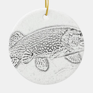 Northern pike ceramic ornament