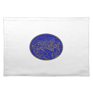 Northern Pike Fish Oval Mono Line Placemat