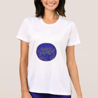 Northern Pike Fish Oval Mono Line T-Shirt