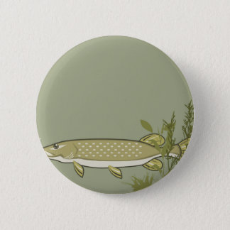 Northern Pike Vector 6 Cm Round Badge