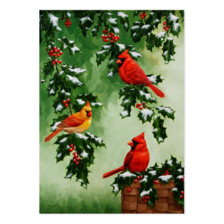 Northern Red Cardinals and Holly Pack Of Chubby Business Cards