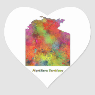 NORTHERN TERRITORY STATE MAP - Heart Shape Sticker