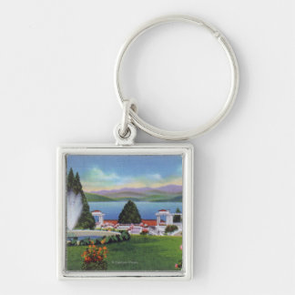 Northern View of Lake from Ft. William Henry Silver-Colored Square Key Ring