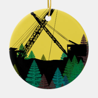 Northwest Crane and Shovel OPERATING ENGINEER art Ceramic Ornament
