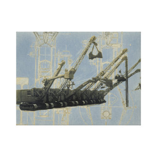 Northwest Crane and Shovel w/ Mechanical Drawing Canvas Print