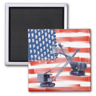 Northwest Crane Operator and Shovel American Flag Magnet