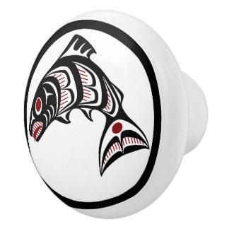 Northwest Pacific coast Haida art Salmon Ceramic Knob