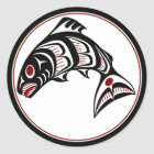 Northwest Pacific coast Haida art Salmon Classic Round Sticker