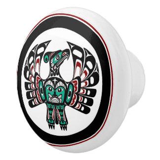 Northwest Pacific coast Haida art Thunderbird Ceramic Knob
